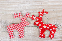 Two Christmas deer of fabric Stock Photography
