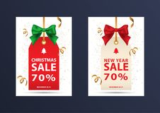 Two christmas discount coupons. Royalty Free Stock Images