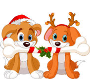Two Christmas dogs. Holding decorated bone Stock Images