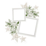Two Christmas frame and a Christmas tree branch with stars royalty free stock images