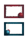 Two christmas frames. With hanging christmas balls,useful for postcard or photo frame. Eps file available Royalty Free Stock Image