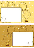 Two christmas frames 3. A set of two christmas frames with an hanging christmas-ball. Snowflakes, stars and sprigs wirh leaves on background.Useful as postcards Stock Image