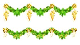 Two christmas garlands with golden decorations Royalty Free Stock Photo