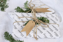 Two Christmas Gifts with Blank Tags Royalty Free Stock Photo