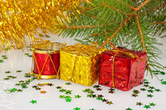 Two Christmas gifts under the Christmas tree Stock Image