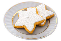 Two Christmas Gingerbread cookies on a white plate Royalty Free Stock Photography