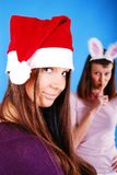 Two Christmas girls. Stock Photo