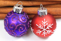 Two Christmas glass balls Royalty Free Stock Photography