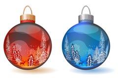 Two Christmas glass balls Royalty Free Stock Photography