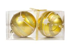 Two Christmas golden balls in transparent box Stock Images