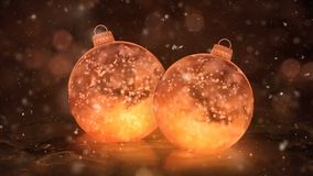 Two Christmas Golden Ice Glass Baubles Decorations snowflakes background loop