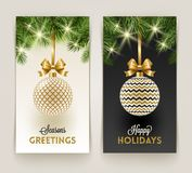 Two Christmas greeting cards vector illustration