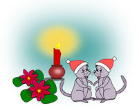 Two Christmas Mice Royalty Free Stock Image