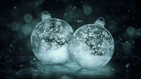 Two Christmas Grey Noir Ice Glass Baubles Decorations snowflakes background loop