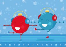 Two christmas ornament balls are practicing figure skating. Christmas/New years card for 2017-2018. Simple cute illustration Royalty Free Stock Photos
