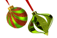 Two Christmas Ornaments - Angled Royalty Free Stock Photos