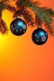 Two christmas ornaments on tree branch Stock Images