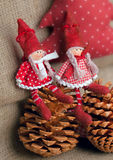 Two christmas rag dolls Stock Photo