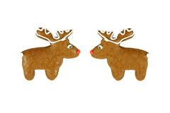 Two christmas reindeer gingerbreads on white Royalty Free Stock Photography