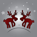 Two christmas reindeer and stars eps10. Two vector christmas reindeer and stars eps10 Vector Illustration