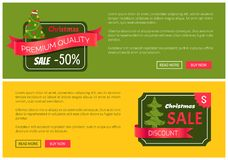 Two Christmas Sale Half Price Discount Banners. With two red ribbons, colorful push-buttons, New Year trees with pretty toys and cute red hat on top Royalty Free Stock Images