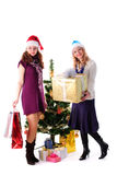 Two Christmas santa girl with gift Royalty Free Stock Photography
