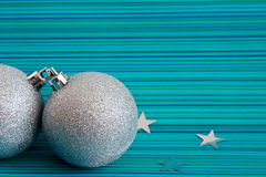 Two christmas silver balls Royalty Free Stock Photos