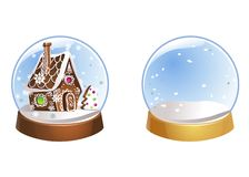 Two Christmas snow globes with snowflakes isolated on white background. Vector illustration. Winter in glass balls. stock illustration