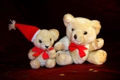 Two Christmas teddy Royalty Free Stock Photos