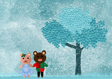 Two Christmas teddy bears Stock Photography