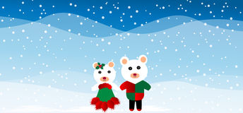 Two Christmas teddy bears Stock Photography