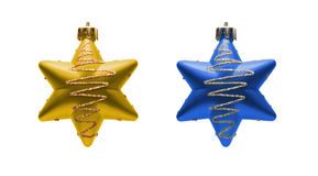 Two Christmas toys. Two gold and blue Christmas toys isolated on white background Royalty Free Stock Photography