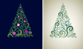 Two Christmas tree backgrounds. Two Vector decorative shining cute Christmas tree backgrounds (from my Christmas collection Royalty Free Stock Image