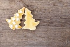 Two christmas tree cookies Stock Images