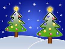 Two Christmas trees Stock Photography