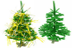 Two Christmas trees. Isolated on a white background Royalty Free Stock Photography