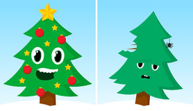 Two Christmas trees one happy one sad after xmas Royalty Free Stock Images
