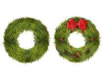 Two Christmas Wreaths, One Plain and One Decorated, Isolated on Royalty Free Stock Images