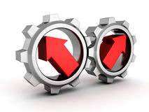 Two chrome cogwheel gears with arrows. 3d render illustration Stock Photos