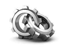 Two chrome cogwheel gears on white background. 3d render illustration Royalty Free Stock Images