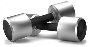 Two chrome dumbbell with rubber handle. On white background Royalty Free Stock Images