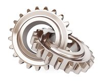 Two chrome gears Royalty Free Stock Images
