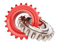 Two chrome gears. On white background Royalty Free Stock Images