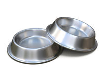 Two chrome pet bowls for food. 3D rendering. Illustration isolated on white background Stock Images