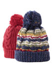 Two chunky knit warm winter ski hats isolated on white background Stock Image