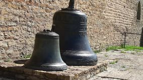 Two church bells  from the fortress wall close to stock video