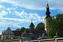 Two church towers at monastery Privina Glava, Šid, Serbia Stock Image