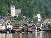 Two Churches. This view is the most beautiful view you can enjoy in Austria / Hallstatt Stock Photo