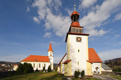 TWO CHURCHES. Two old churches in Janowice Wielkie, Poland Royalty Free Stock Image