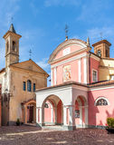 Two churches in small italian town. Royalty Free Stock Images